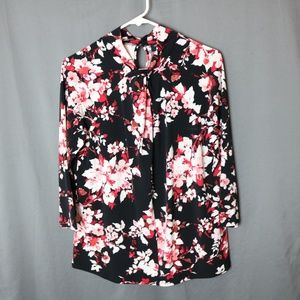 Floral Blouse with Keyholes